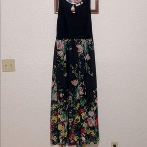 New York & Company black floral maxi dress